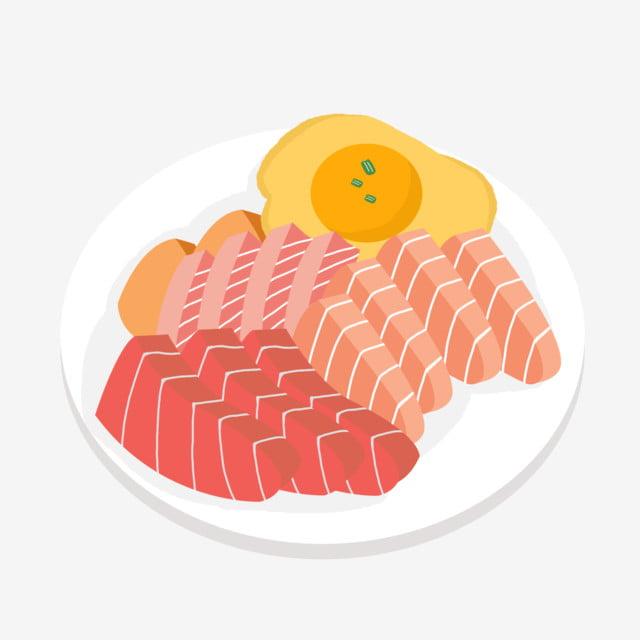 Sashimi Mariscos Comida Carne En Rodajas Dibujos Animados De