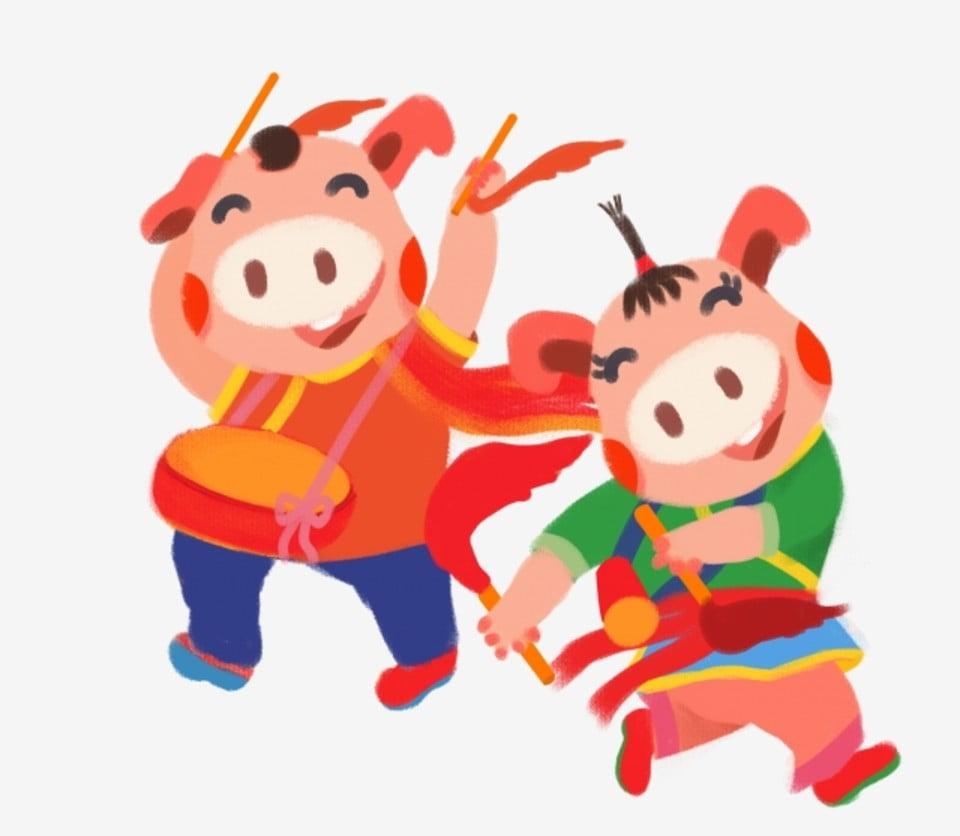 Spring Festival Drumming Twisting Songs Cartoon Hand Drawn