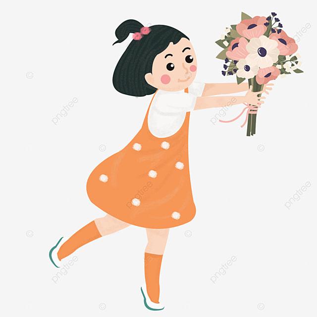 Etudiant Donner Fleurs Bonne Journee Des Enseignants Des Bonne Journee Des Enseignants Etudiant En Dessin Anime Fichier Png Et Psd Pour Le Telechargement Libre