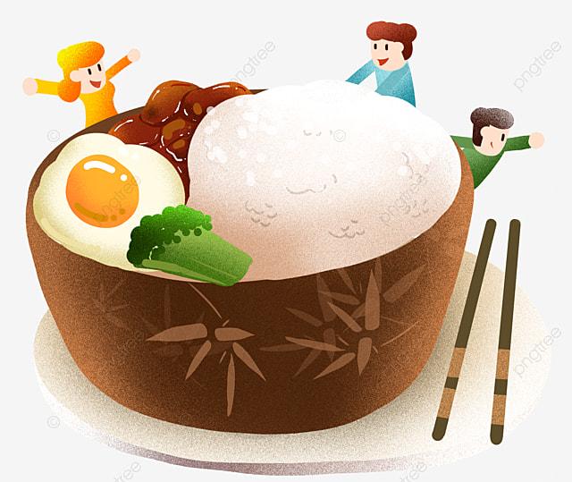 冬の煮込み豚肉ご飯イラスト ステッカー 長肉 暖かい 食べて食べる 冬の
