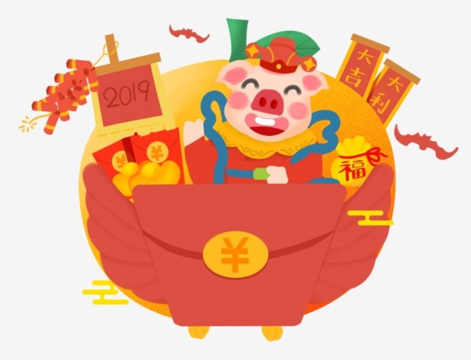 Anno del maiale festival di primavera cartoon dipinta a mano q