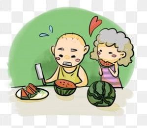 高齢者の世話 老人を尊重し、老人を愛する 高齢者への敬意 長老を尊重する, 高齢者を尊重する, 高齢者への敬意, タイトル:高齢者の中国の伝統文化、老夫婦、妻、生活、スイカカット、スイカを食べるの世話 PNGとPSD