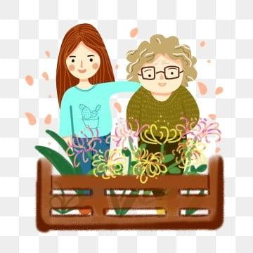 高齢者の世話 老人を尊重し、老人を愛する 高齢者への敬意 長老を尊重する, 美しさとおばあちゃんと菊の漫画イラスト, 高齢者の世話, 高齢者への敬意 PNGとPSD