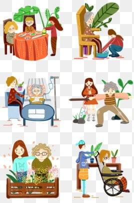 高齢者の世話 老人を尊重し、老人を愛する 高齢者への敬意 長老を尊重する, 家の再会, 高齢者を尊重する, 長老を尊重する PNGとPSD