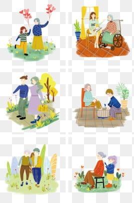 高齢者の世話 老人を尊重し、老人を愛する 高齢者への敬意 長老を尊重する, 高齢者を尊重する, 家族の夕食, 親戚を訪問 PNGとPSD