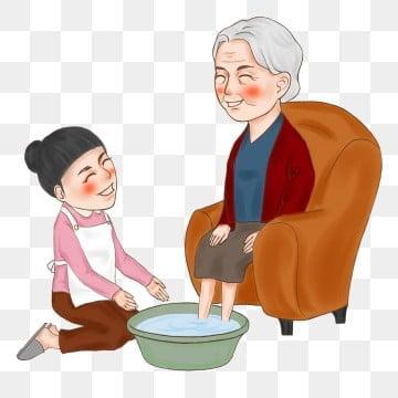 高齢者の世話 高齢者の足を洗う 老人を尊重し、老人を愛する 高齢者への敬意, 高齢者の足を洗う, 痴女老人, 高齢者との食事 PNGとPSD