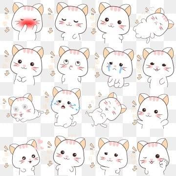 cartoon hand drawn hand painted cat cat expression cartoon kitten illustration image
