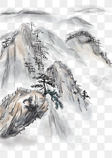 991d01229 chinese style hand drawn ink landscape png traditional chinese painting,  Cloud Sea, Mountain Peak