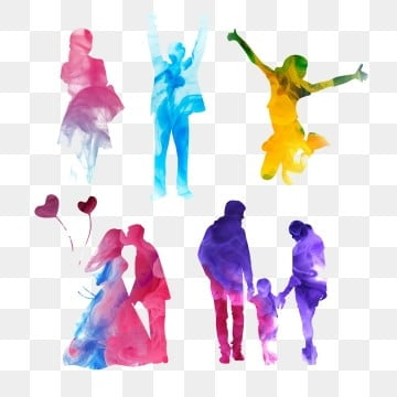 Family colorful. Silhouette png images vector