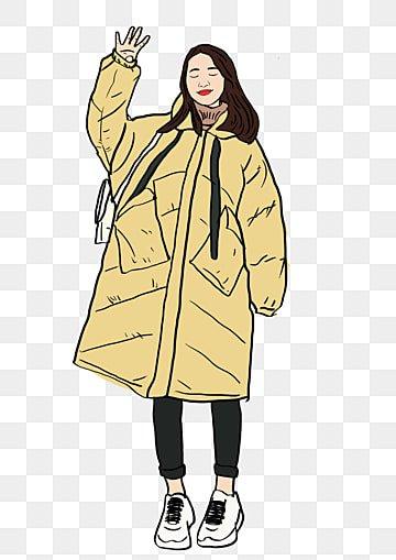0f761e118db9 Ragazza in cappotto di cotone giallo Disegnato a mano cartone animato  invernoColore Morandi Giallo PNG E