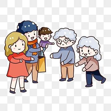 手描き漫画 ダブルナインスフェスティバル 高齢者を訪問するために家に帰る 両親を敬う, 手塗りqバージョン, 家族の再会, ダブルナインスフェスティバル PNGとPSD