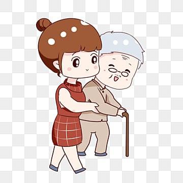 手を描いた漫画は、高齢者の伝統的な美徳のための道路の敬意を交差のヘルプを描画, 道路を渡る, 装飾パターン, 手描き漫画 PNGとPSD
