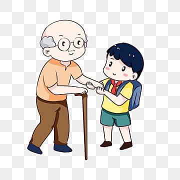 老人が道を渡るのを助ける手描き漫画 高齢者への敬意 高齢者が道路を渡るのを手助けする 小学生, 安全性, 老人, 小学生 PNGとPSD