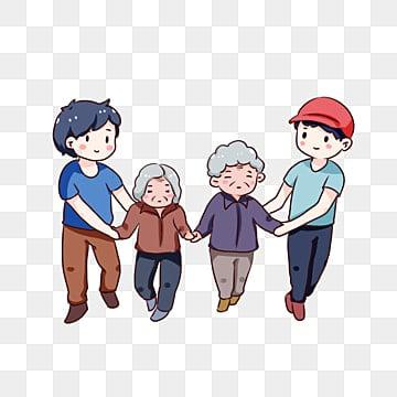 老人が道を渡るのを助ける手描き漫画 ボランティア 高齢者への敬意 高齢者の世話, 老人が道を渡るのを助ける手描き漫画, 装飾模様, 高齢者の世話 PNGとPSD