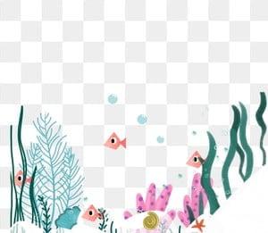 ручная роспись орнамент подводный мир рыбка, под морем, водоросли, коралловый PNG и PSD