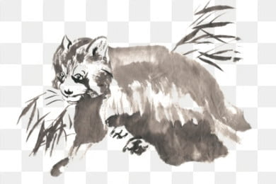 ink traditional chinese painting hand painted kitten bear, Protect The Animals, Crawl, Lovely PNG and PSD illustration image
