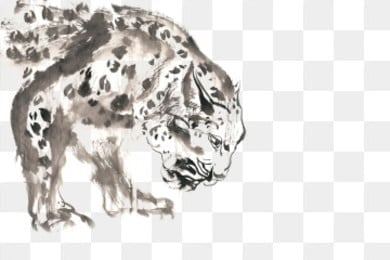 Free Download | Snow Leopard Ink Painting PNG Images