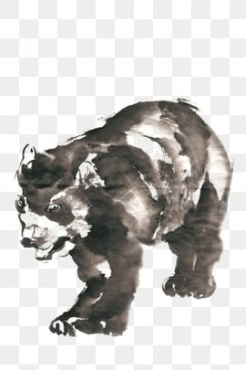 ink traditional chinese painting hand painted little black bear, Clumsy, Lovely, Slow PNG and PSD illustration image