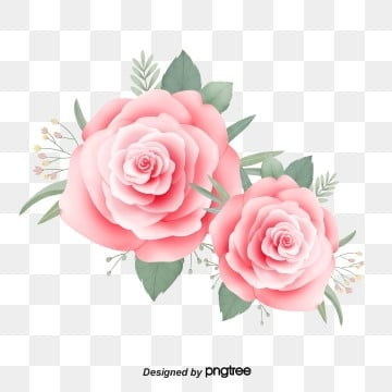 Pink Hand-painted Aesthetic Little Fresh Rose, , Leaf, Hand Drawn PNG and PSD
