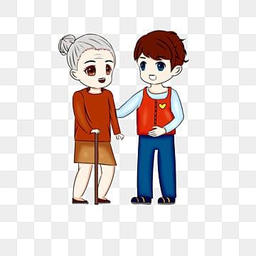 9ebc0e205722d volunteer grandma young man cartoon hand drawn