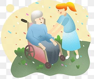 老人イラストを助けるボランティア 老人を尊重する ボランティア おばあちゃん, 老人イラストを助けるボランティア, 祖母孫娘イラスト, 伝統美徳 PNGとPSD