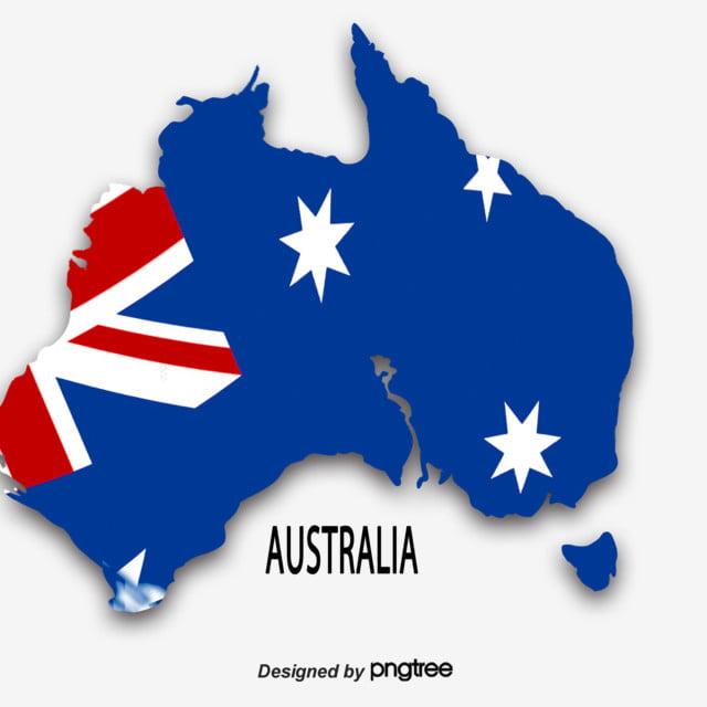 A Simple Map Of Blue Australian Flag National Flag Map Australia