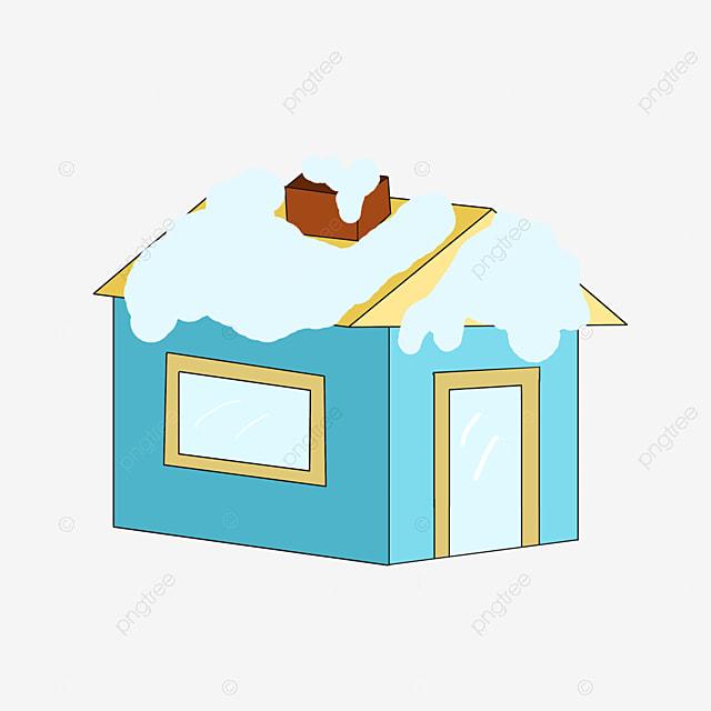 toit de maison dessin Belle maison de neige Avant toit jaune Fenêtre jaune Dessin animé chute  maison de neige Gratuit PNG et PSD