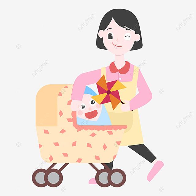 17364417d عربة جميلة طفل لطيف الأم الأم الشابة تدفع الأم عربة الأطفال عربة ...