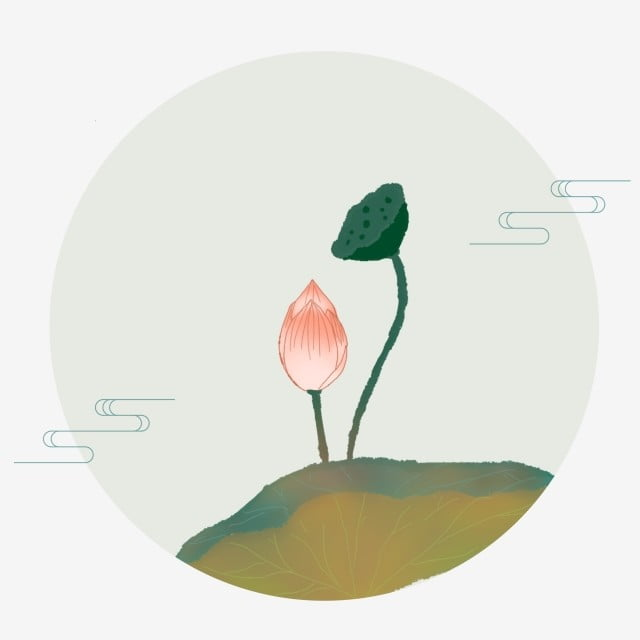 Gaya Cina Tangan Ditarik Hiasan Kartun Teratai Daun Teratai Lotus