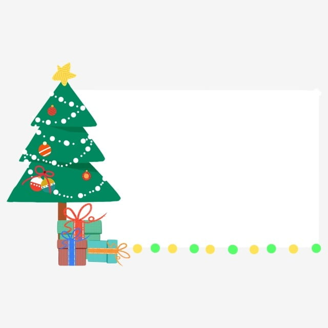 c7ae7f40334e0 christmas border illustration christmas tree border yellow five-pointed star  green gift box