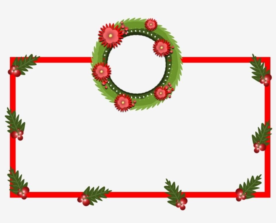 Christmas Hand Drawn Border Green Garland Beautiful Border Beautiful