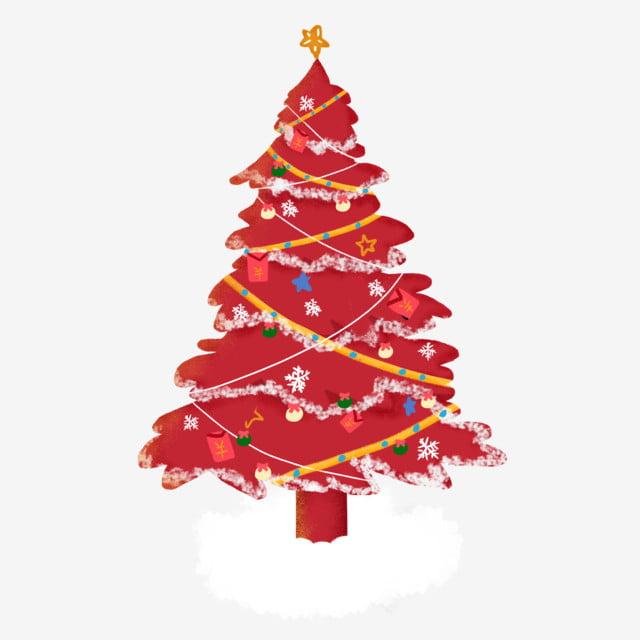 Sapin De Noël Rouge Avec Des Cadeaux Festif Flocon De Neige Blanche