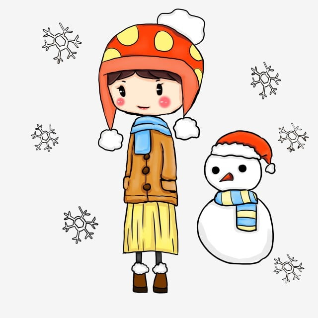 e644bf00af7 great cold hand drawn illustration white snowflakes red christmas hat red  hat