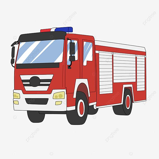 Camion De Pompiers Dessin Anime Peint A La Main 119 Alarme La Prevention Un Camion Fichier Png Et Psd Pour Le Telechargement Libre