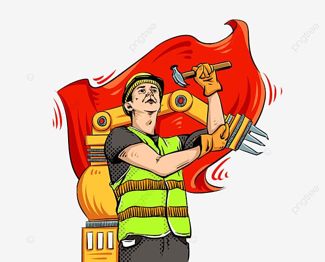 Gambar Montir Animasi Png Gambar Lengan Mekanik Pekerja Gaya Pop Hari Buruh Bendera Merah Berkibar Helm Kartun Png Transparan Clipart Dan File Psd Untuk Unduh Gratis