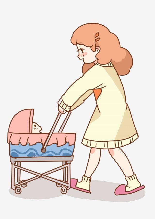 4461163dd والدة طفل التوضيح مرسومة باليد اجمل الأم عربة طفل لطيف شخصية كرتونية ...