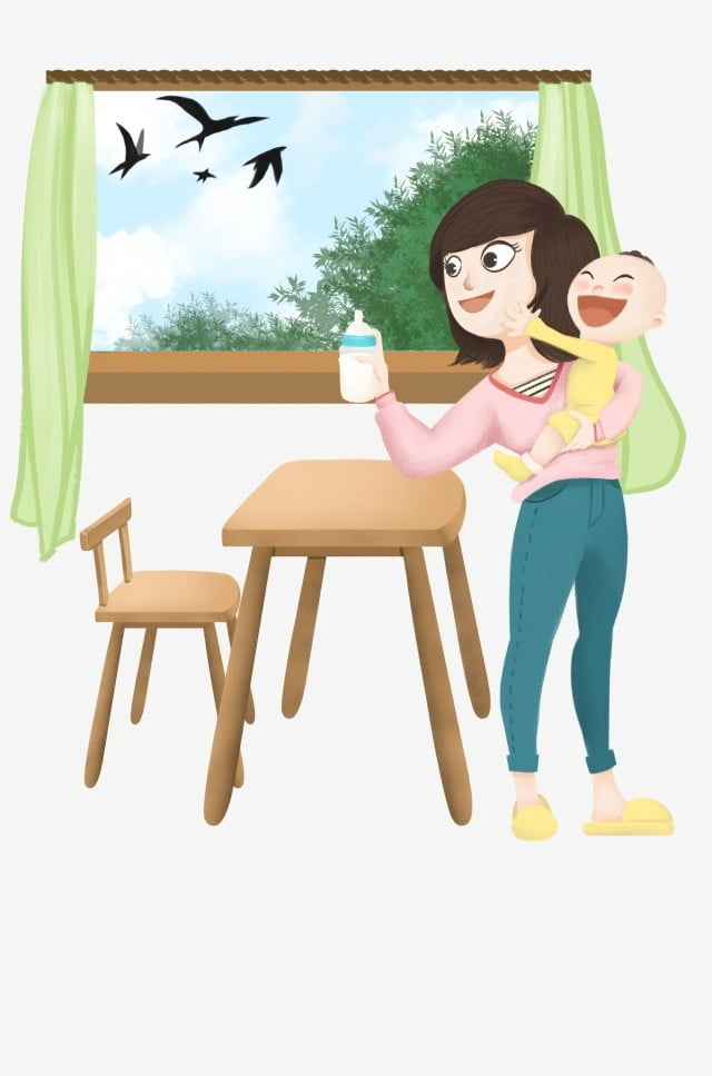 Mother And Baby Illustration White Bottle Cute Baby Black Swallow Green Trees Beautiful Mother Hand Painted Bottle Png Transparent Clipart Image And Psd File For Free Download