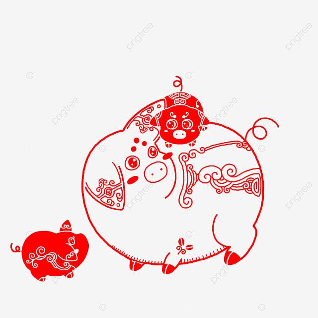 赤い紙カットイラスト 赤い豚 かわいい豚 豚イラスト 赤い紙カット豚