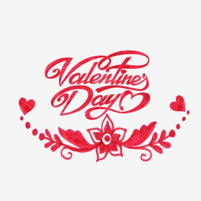 El Día De San Valentín Rojo Flor Corazon Dibujo 14 De Febrero Feliz