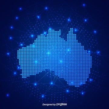 blue australian map technology business wind pixel creative background, Bright Spot, Luminous Efficiency, Business PNG and PSD
