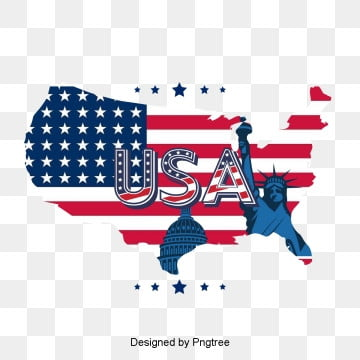 fashionable simple cartoon flag element of american map, Cartoon, National Flag, Map PNG and PSD