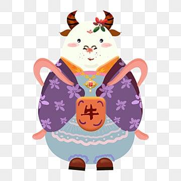 插畫類 古裝服飾 十二生肖 牛, 裝飾, 十二生肖, 創意 PNG和PSD圖片素材 插畫圖片