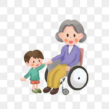 高齢者への敬意 老人 小さい子 車いす, 甘やかす, 高齢者への敬意, イラスト PNGとPSD
