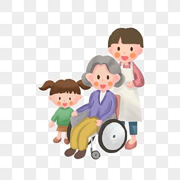 高齢者への敬意 老人 小さい子 車いす, 家族, 車いす, 愛してる PNGとPSD