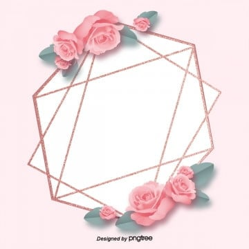 rose gold pink rose geometric decoration high end border background, Geometry, Luxurious, Shading PNG and PSD