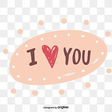 Valentines Day caring peach heart element I love you hand painted font stickers Fonts