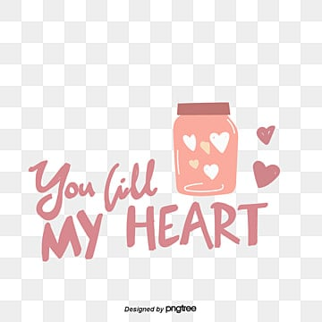 valentines day love peach heart bottle element my heart hand painted font sticker Fonts