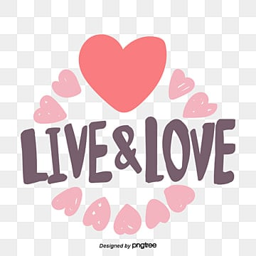 valentines day love peach heart element live and love hand painted font stickers Fonts
