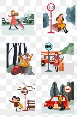winter travel character illustration travel collection beautiful little girl winter snow scene, Snow Falling Trees, Green Leaves, Winter Travel Character Illustration PNG and PSD