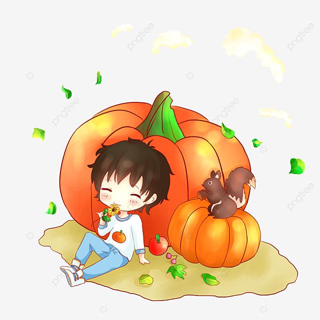 秋の男の子 パンプキンボーイcartoon Q Edition Boy 手描き漫画少年